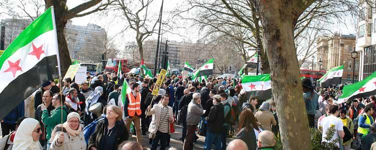Thousands march in London on the 3rd Anniversary of the Syrian Revolution