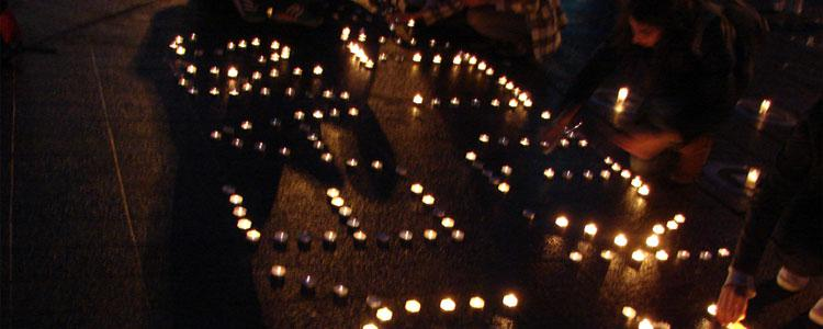A candle vigil in Manchester city centre on the 2nd Anniversary of the Syrian Revolution